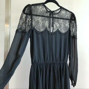 Albert Nipon 1970s VTG Black Chantilly Lace Dress